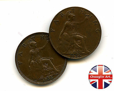 A pair of 1934 British Bronze GEORGE V FARTHING Coins