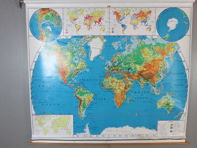 "2 Vintage NYSTROM School Pull Down World USA Maps 65""X71"""