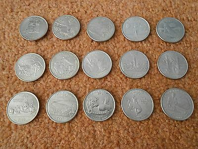 USA United States 15 different Park State Quarter coins 25 cents Mt Mark P Lot F