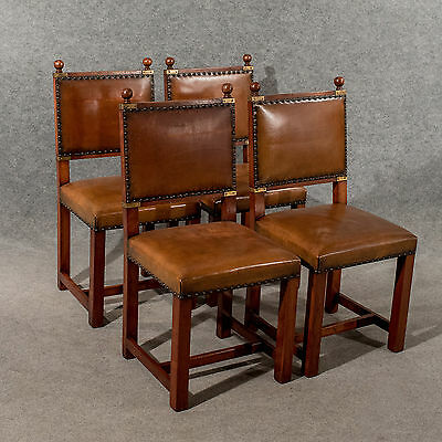 Antique Oak & Leather Set 4 Four Dining Kitchen Chairs Comfy & Quality Mid-20thC