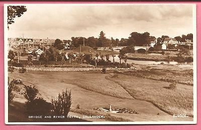 Bridge and River Teith, Callander, Stirlingshire, Scotland postcard. Real Photo.
