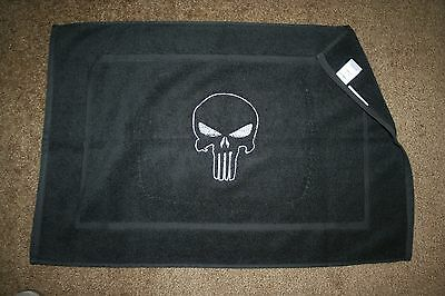 """""""Punisher"""" Black Terry BathMat with white thread machine embroidered NWOT"""