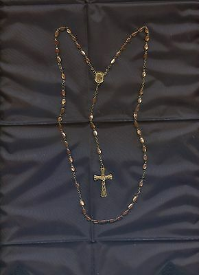 Antique French Rosary with gold color  glass beads chapelet Christianity