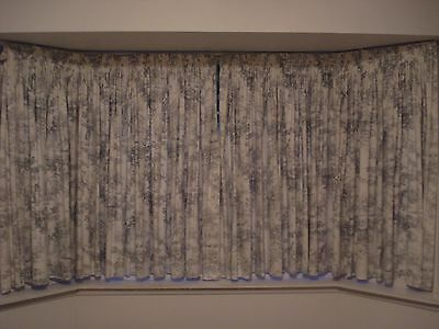 Curtains, French Toile fabric, dusty blue (cotton) lined in good condition