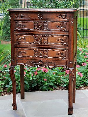 Antique French Tall Carved Oak 3 Drawer Chest End Table Nightstand Cabinet