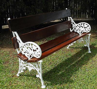 Genuine Antique Victorian Cast Iron Garden Bench 1880's Coalbrookdale, Ivy.