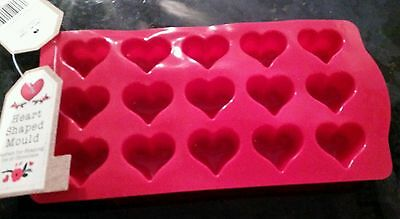 Heart Shaped Red Silicone Tray Ice Cube Chocolate Mould Valentines Day Treat
