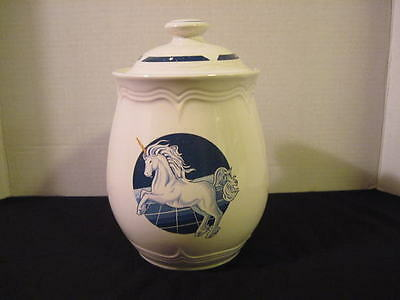 Vintage Tienshan Stoneware Fantasy Unicorn Med Canister Cookie Jar Discontinued