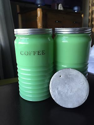 Jeanette Ribbed Jadite Coffee Canisters