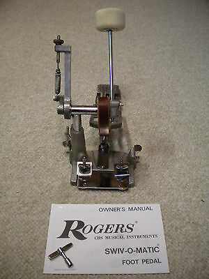 Vintage 54-7006 Rogers Swiv-O-Matic Bass Drum Pedal w/Key & Owner's Manual!