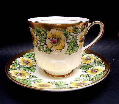 Antique England Coalport Bone China Tea Cup & Saucer Yellow Hibiscus Gold Trim