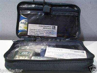 Continental Business  Airlines Amenity Toiletry Soft Navy Pouch Travel Kit