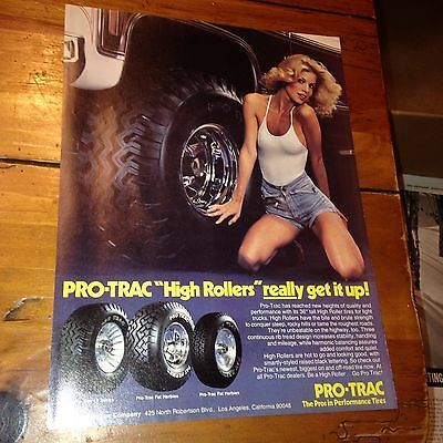 """1979 Pro-Trac Tires Vintage Sexy Girl Ad """"Get it up"""" Garage art"""