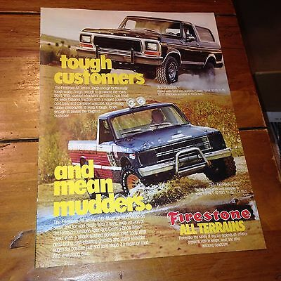 70's Firestone Mean Mudders tire art vintage print Ad