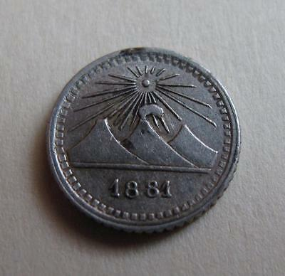 1881 Guatemala 1/4 Real Coin Long-rayed Sun Volcanos Central America Better Date