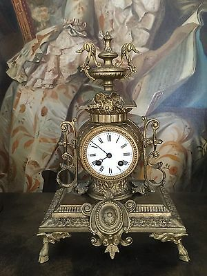 French Antique Japy Freres  Gilt Mantle Clock H 35 Cm