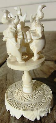 Exceptional Antique Carved Chinese Domestic Bovine Bone 3 Elephant Stand