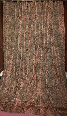 1st Vintage Victorian Baroque French Country Floral Chic Silk Drapes Curtains