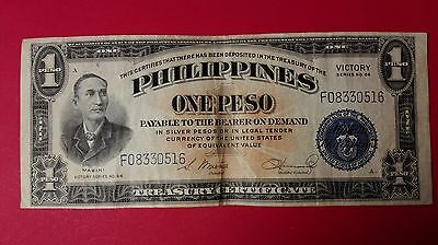 US Philippine one Peso Victory world paper money great condition