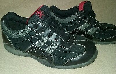 Boys size 4 MOSSIMO athletic casual tennis shoes laces black gray