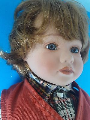Collectible Porcelain Boy Doll with Stand 50cm 21''