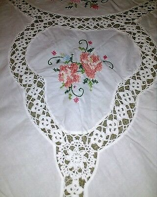 Vintage Tablecloth Hand Embroidered Crochet Inserts Roses Floral Cross Stitch