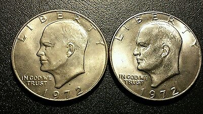 """Lot Of 2  1972D Eisenhower One  Dollar Coins...""""pegleg"""" And Machine Doubling"""
