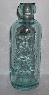 Concord Bottling Co. Concord N. H. Ice Blue Hutchinson Soda Embossed Star