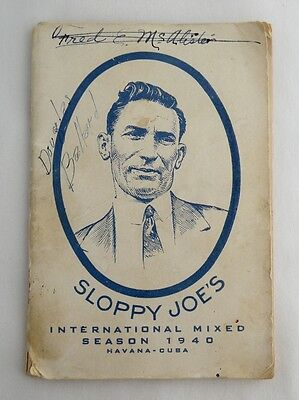 1940 Bartenders Cocktail Book Guide Sloppy Joe's Havana Cuba Agustin Rios As Is