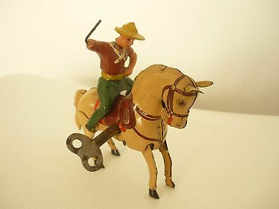 Vintage Tin Toy Rider on Wind up Friction Horse Made in U.S Zone Germany