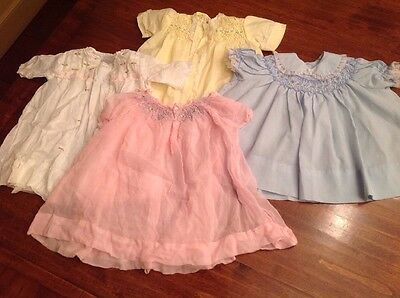 Lot Of Vintage Handmade Girl's Dresses, Birth-6 Months, 7 Pieces