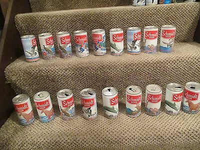 16 vintage Schmidt Beer Cans Scenic and Wildlife Group Lot Collection Aluminium