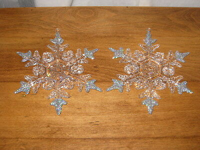 2 Clear Acrylic W/ Glitter Snowflake Ornaments W/ Silver Glitter On Each Tip