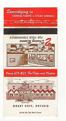 Lee's Chinese Restaurant, New Hope Ontario Canada, Vtg Matchbook Cover Jan16