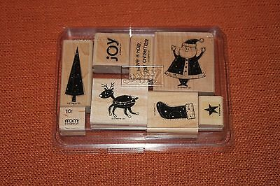 "Stampin up! ""Christmas Theme"".  Wood rubber stamp set of 8"