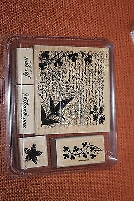 "Stampin up! ""Fresh Cut Notes.""  Wood rubber stamp set of 5"