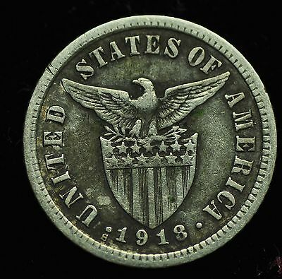 1918s US-Philippines 10 centavos Silver Coin - lot #9