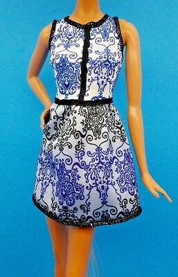 2016 Barbie Fashionista Petite Blue Brocade Doll Dress Also Fits Skipper & Model
