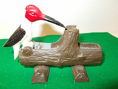 Antique Cast Iron Metal Woodpecker on Log Toothpick Match  Holder; Morton Grove