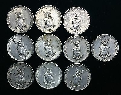 1945 US-Philippines Silver Coins 10 centavos (10pcs) - lot#4