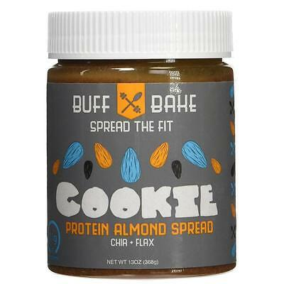 NEW Buff Bake 6SDPzb1 11g Protein Almond Butter Cookie Spread Whey Chia Flax