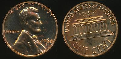 United States, 1968-S One Cent, 1c, Lincoln Memorial - Proof