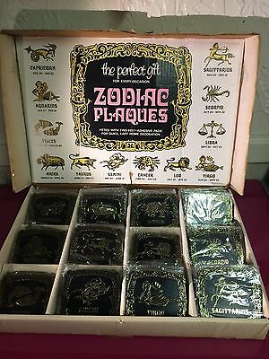 1970 Zodiac Plaque Old Stock-12 Signs 74 Plaques with Original Display Box
