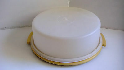 tupperware cake taker container round vintage yellow