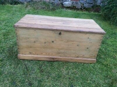 Late Victorian Pine Trunk / Chest / Box