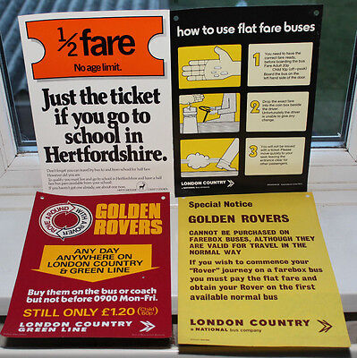 London Country Bus Services -  4 x Vintage bus stop/bus notices 1970s and 1980s