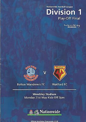 Football Programme - Bolton v Watford - Div 1 Play-Off FINAL - 31/5/1999