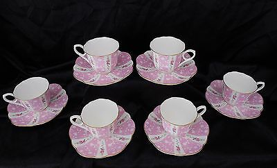 Vintage 1970's High Tea, 6 cups & saucers,fine bone china by Mikasa, pink roses