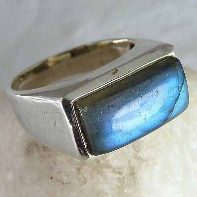 US 8 1/2 ~ Contemporary UNISEX 'Gem-Bar' Ring ~ 925 Sterling Silver/LABRADORITE