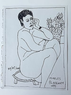 Charles Blackman Drawing (ink on paper) - Nude by Flowers